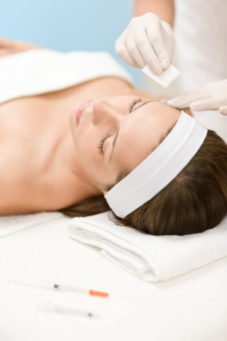 Botox injection - Woman in cosmetic medicine treatment